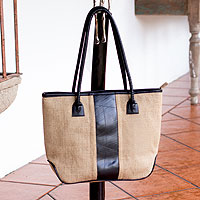 Jute shoulder bag, 'Natural Style'