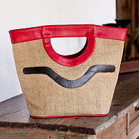 Jute handbag, 'Salvador Nature in Red'