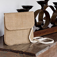Jute shoulder bag, 'Nature's Details'