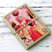 Handmade paper journal, 'Postcard from Rajasthan'