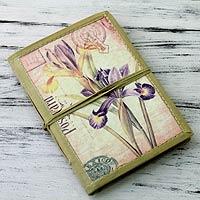Handmade paper journal, 'Iris Voyage'