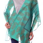 Green Paisley Cotton and Silk Shawl