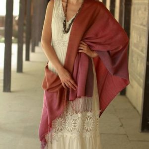 Silk and wool shawl, 'Twilight Shimmer'