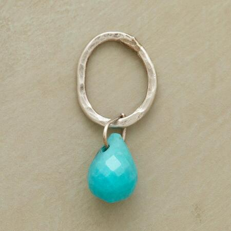 Sterling Faceted Birthstone Charm - Turquoise