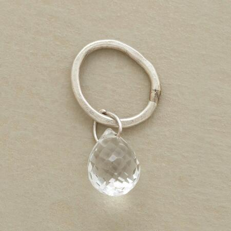 Gold Faceted White Topaz Birthstone Charm