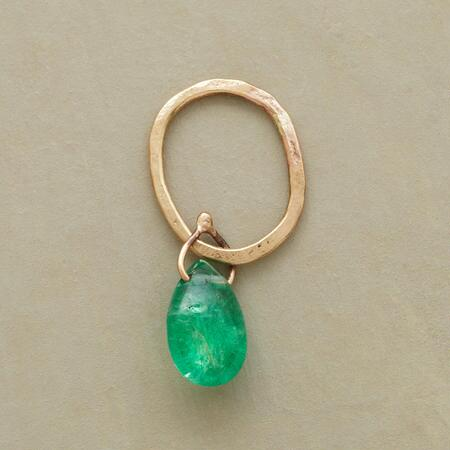 Gold Faceted Birthstone Charms - Emerald