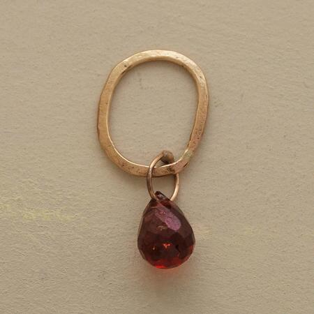 Gold Faceted Birthstone Charm - Garnet