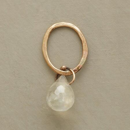 Gold Faceted Birthstone Charm - Moonstone