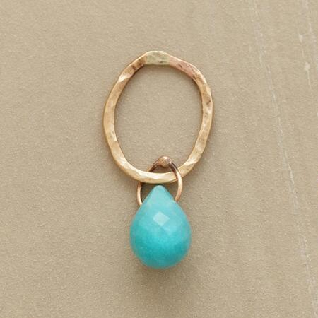 Gold Faceted Birthstone Charm - Turquoise