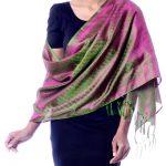 Varanasi silk shawl, 'Banaras Green'
