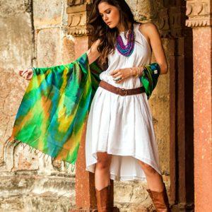 Varanasi silk shawl, 'Cool Color Fusion'