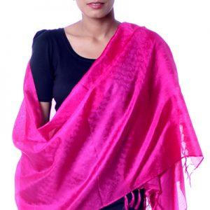 Banarasi silk shawl, 'Fuchsia Dawn'