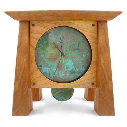 Prairie Mantel Clock with Copper Face and Pendulum