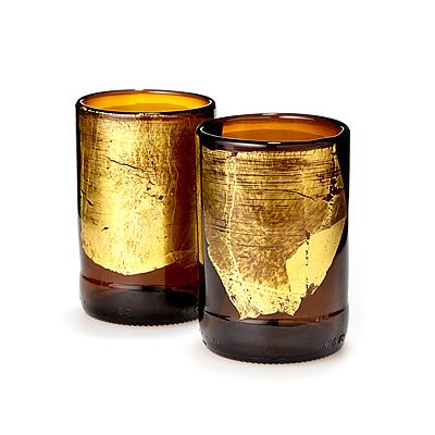 Gold Leaf Upcycled Beer Bottle Tumbler Set