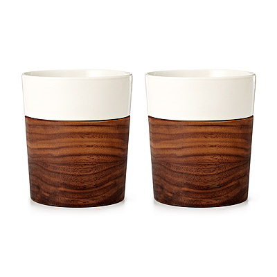 Wood and Ceramic Tumblers - Set of 2