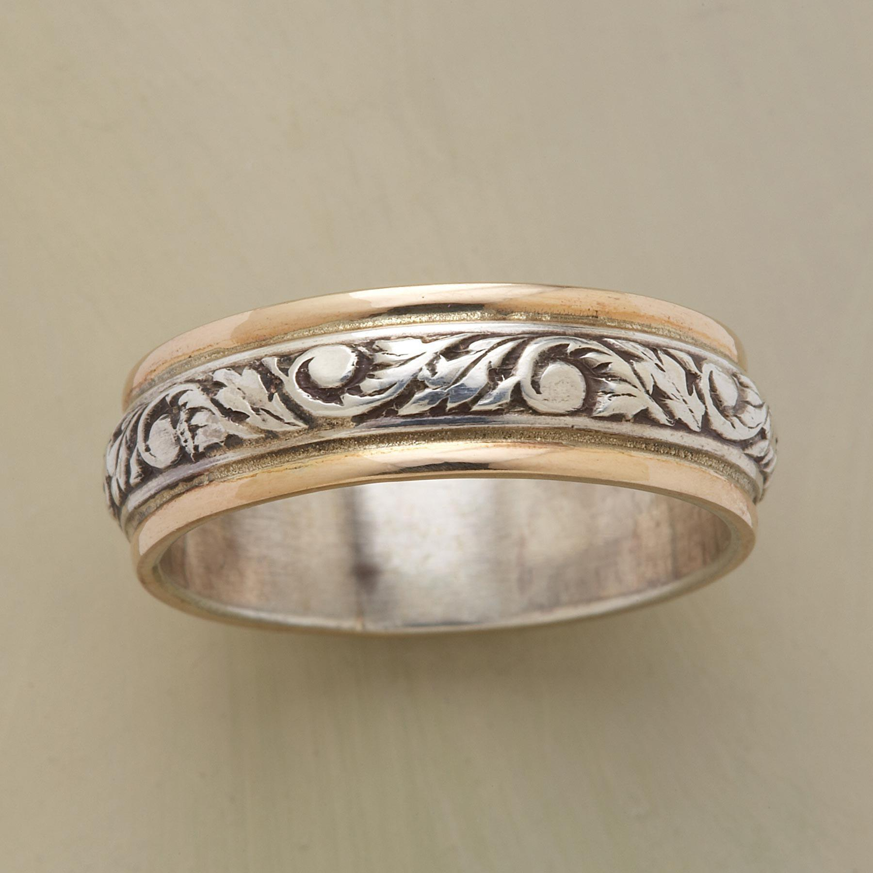 Silver & Gold Twining Vine Band Ring