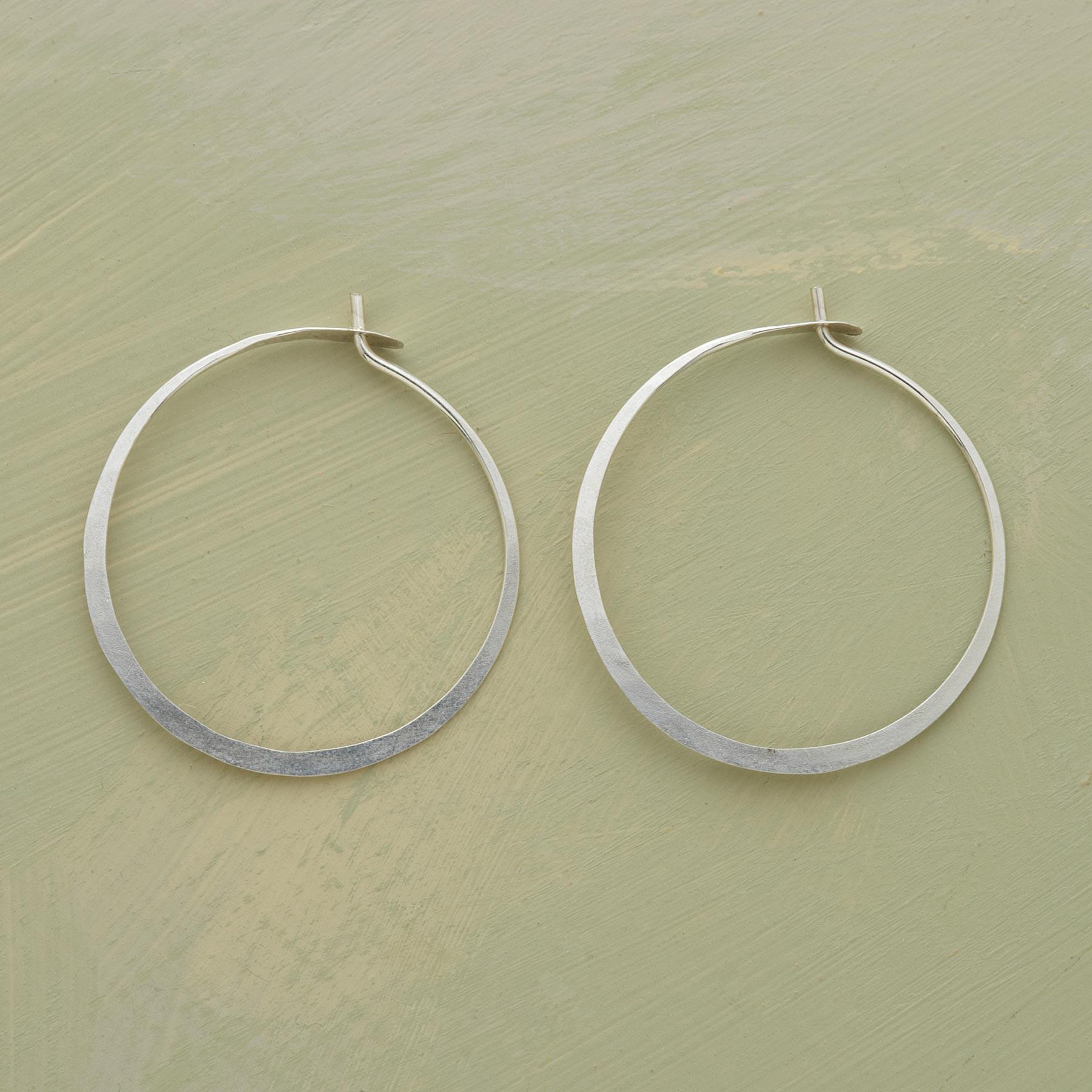 Hand Forged Sterling Hoop Earrings