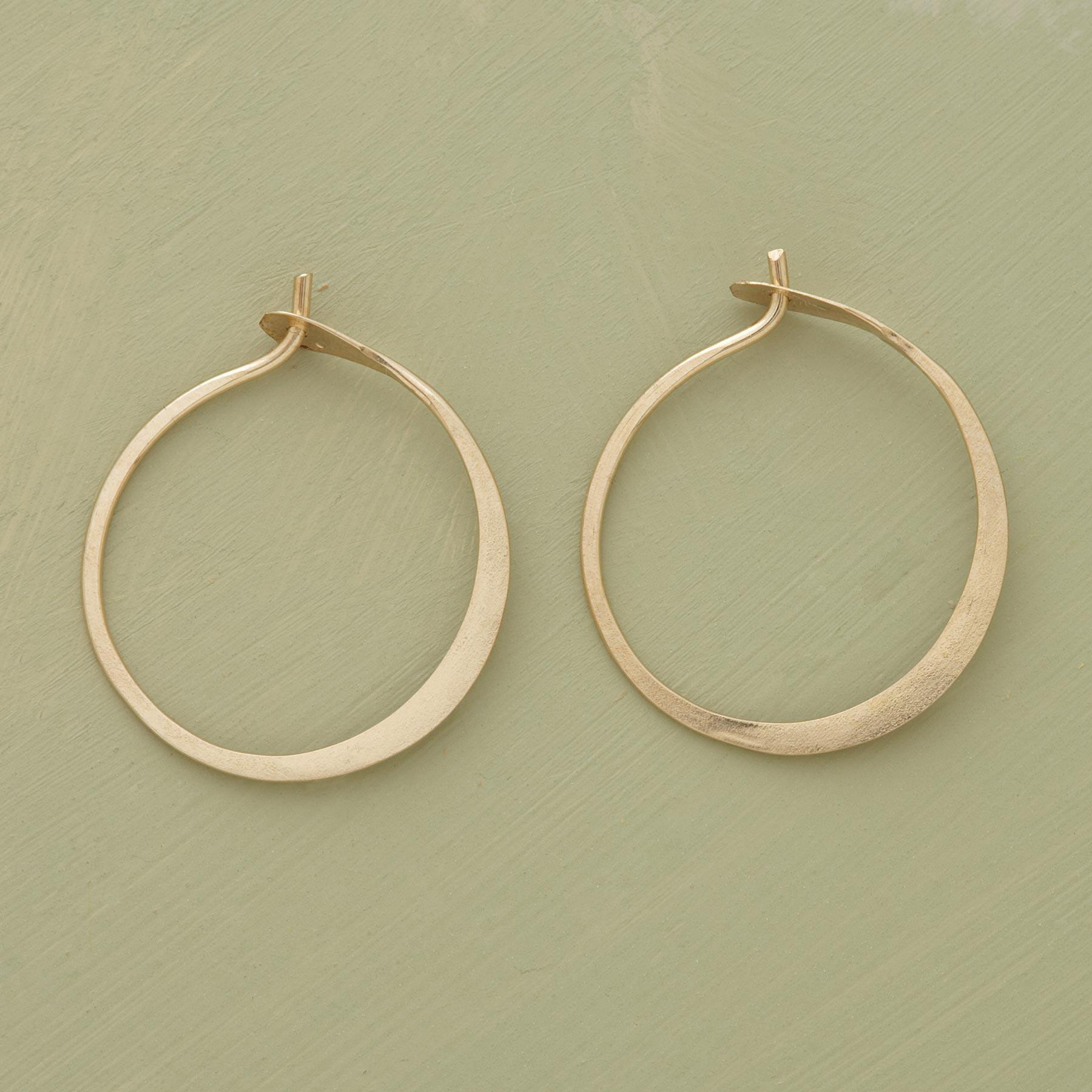 Small Hand Forged Gold Hoop Earrings