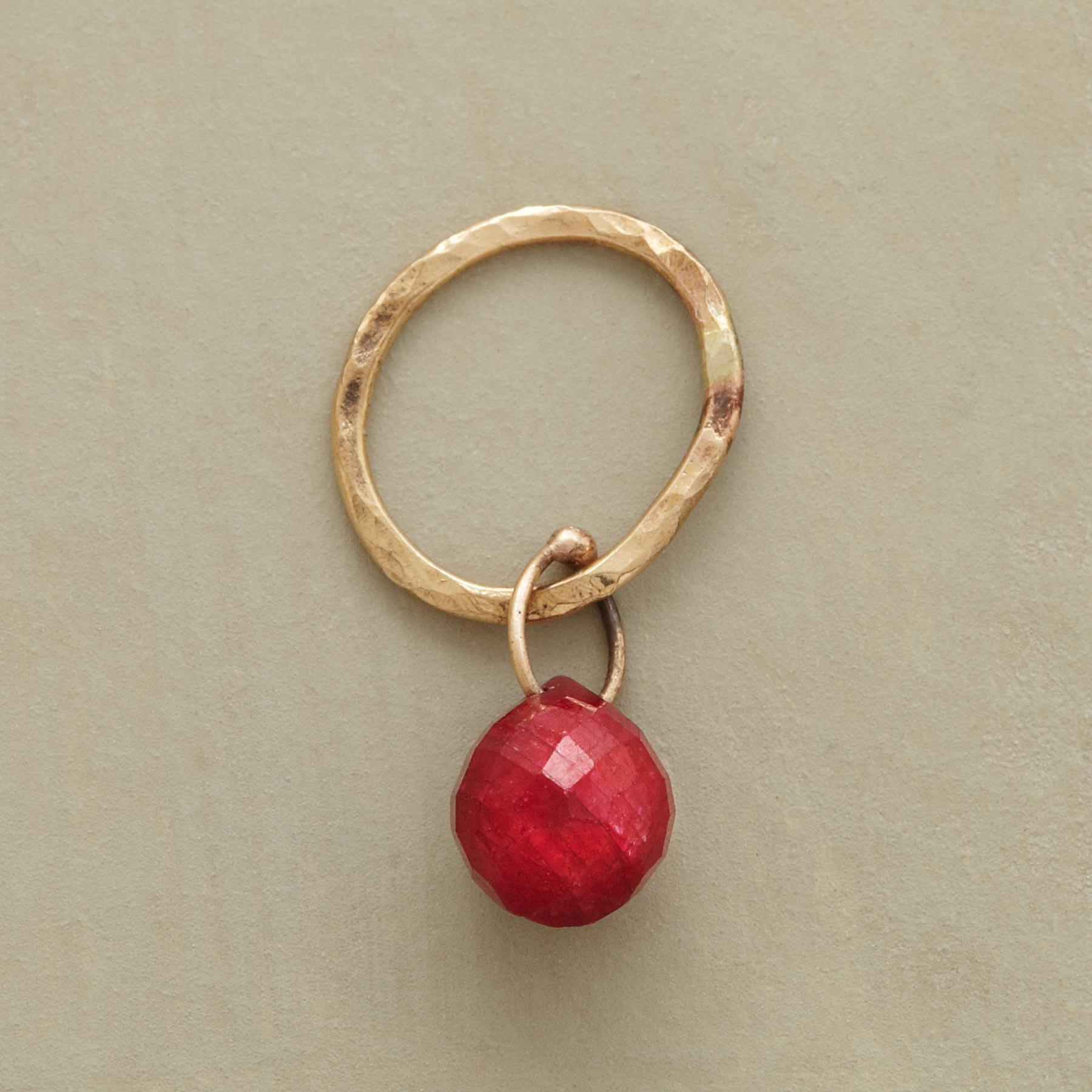 Gold Faceted Birthstone Charms - Ruby