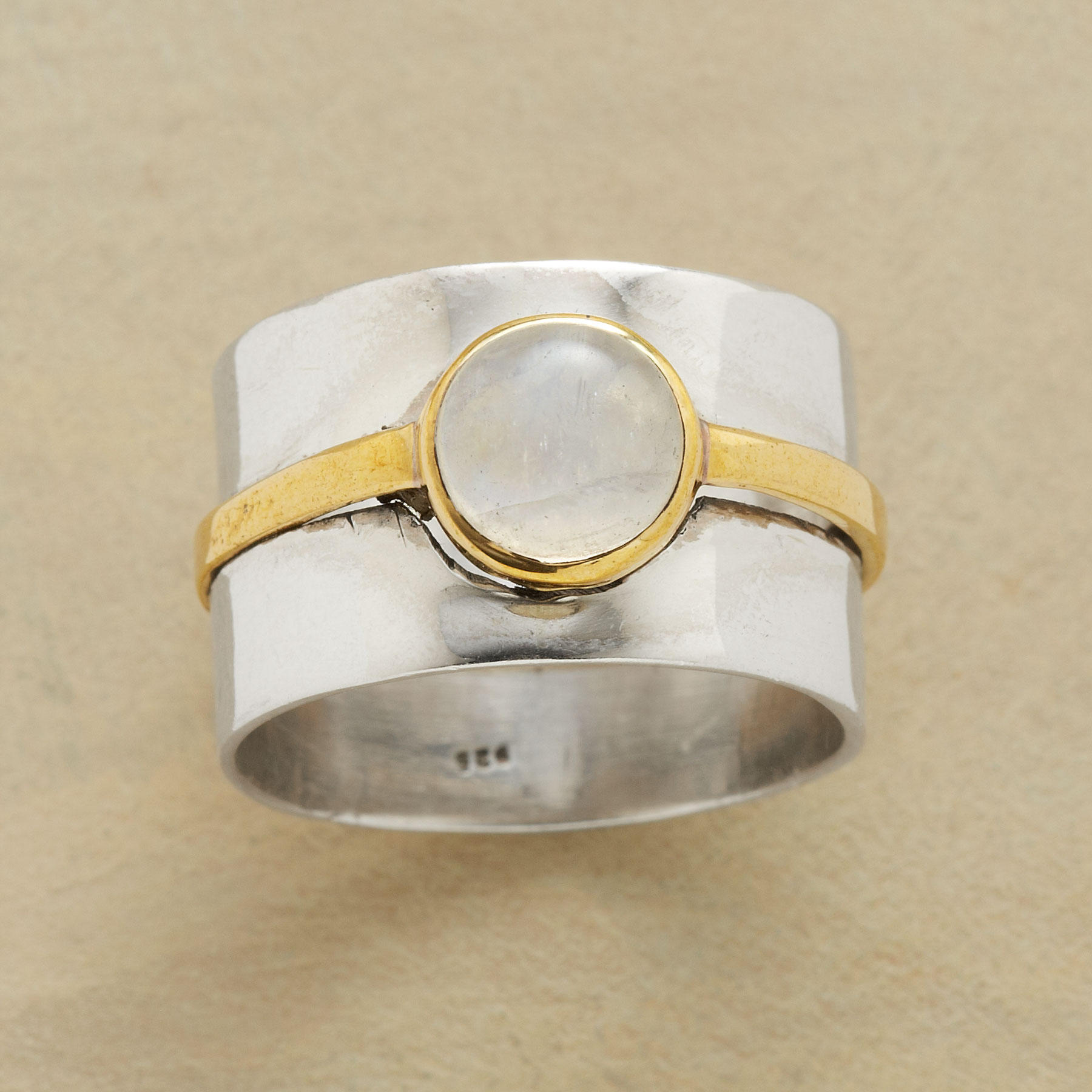 Double Banded Moonstone Ring