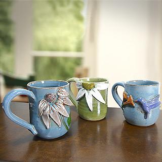 Sculpted Stoneware Mugs