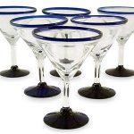 Handblown Glass Recycled Blue Rim Martini, 'Cobalt Joy' (Set of 6)