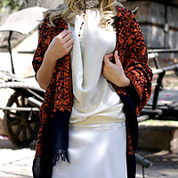 Wool shawl, 'Sparkling Paisley'