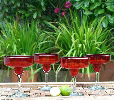 Hand Blown Red Margarita Glasses, 'Scarlet Freeze' (Set of 4)