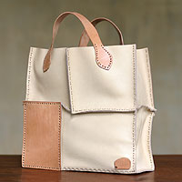 Leather handbag, 'Urban Safari in Ivory'
