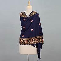 Wool shawl, 'Always Charming'