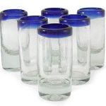 Handblown Recycled Glass Blue Rim Shot Glasses, 'Tequila Blues' (Set of 6)