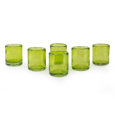 Handblown Recycled Glass Tequila Shots, 'Lime and Salt'