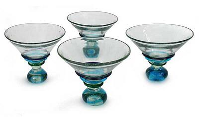Martini Glasses Hand Blown, 'Three Ribbons' (Set of 4)