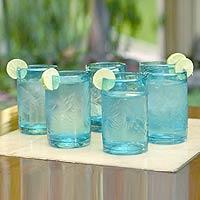 Etched glasses, 'Aquamarine Flowers' (set of 6)