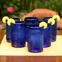 Etched drinking glasses, 'Blue Blossoms' (set of 6)