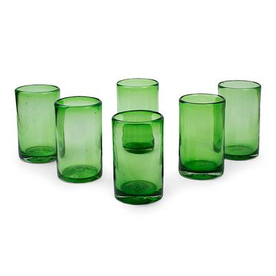 Artisan Crafted Handblown Glass Recycled Cocktail Drinkware, 'Emerald Green'