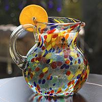 Blown glass pitcher, 'Confetti'