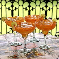 Margarita glasses, 'Butterscotch Swirl (set of 4)