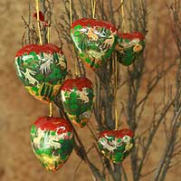 Ornaments, 'Heart of the Forest' (set of 6)