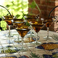 Martini glasses, 'Tortoise Shell' (set of 6)