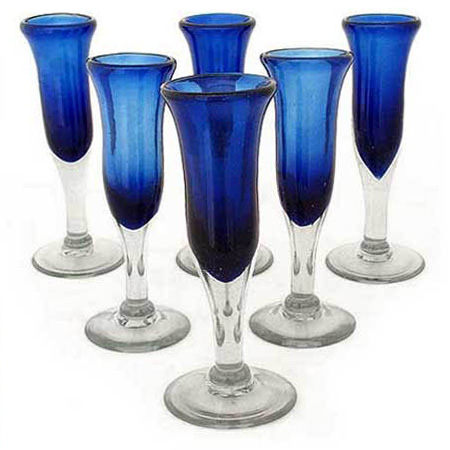 Handblown Glass Blue Champagne Glasses, 'Cobalt' (Set of 6)