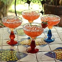 Blown glass margarita glasses, 'Cool Rainbow' (set of 4)