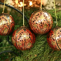 Ornaments, 'Lavish Celebrations ' (set of 4)