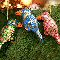 Ornaments, 'Festive Songbirds' (set of 4)