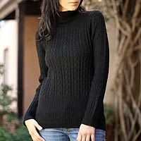 Alpaca sweater, 'Midnight Warmth'