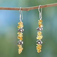 Citrine dangle earrings, 'Golden Garland'