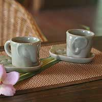 Celadon ceramic coffee mug set, 'Elephant Tales' (pair)