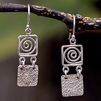 Sterling silver dangle earrings, 'Energy'