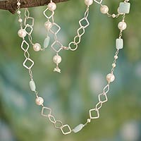 Pearl and blue chalcedony long necklace, 'Innovate'