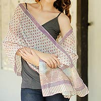 Cotton and Chanderi silk shawl, 'Paisley Paradise'